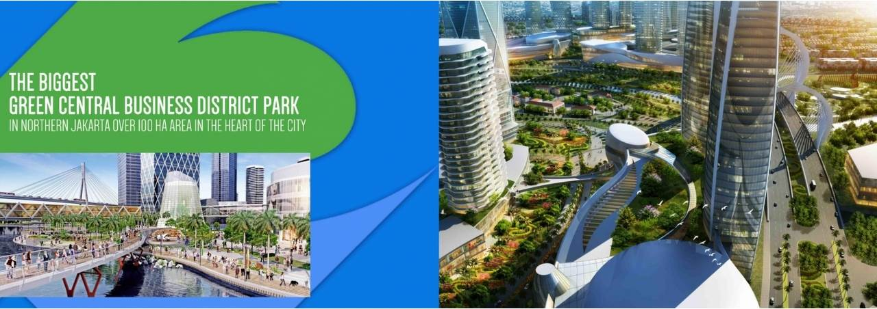 The biggest green central business district park in northern Jakarta over 100 Ha Area in the heart of the city